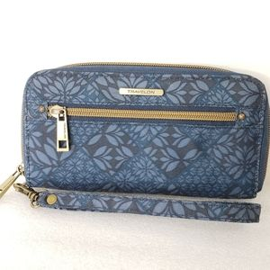Travelon Wallet Navy Blue Botanical RFID Blocking